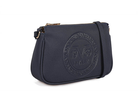 Zipped Navy Blue Crossbody Bag
