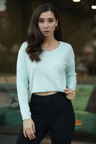 Mint Green Chenille Tricot Pullover