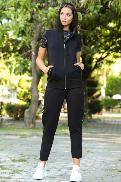 Women's Oversize Camouflage Pattern Black Sweat Suit