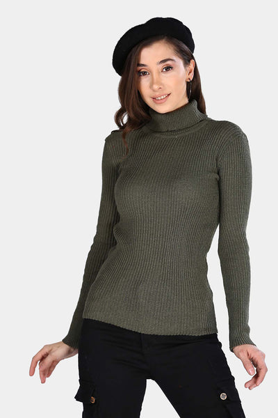 Turtleneck Khaki Tricot Sweater