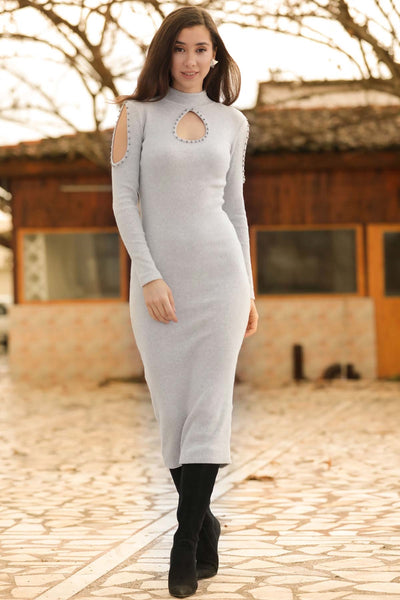 Pearl Grey Tricot Midi Dress