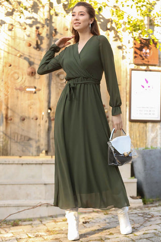 Wrap Khaki Chiffon Long Dress