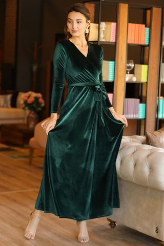 Wrap Green Velvet Long Dress