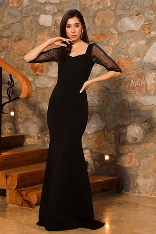 Tulle Sleeves Fish Model Black Long Evening Dress