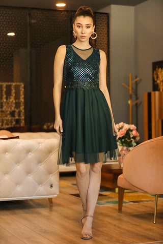 Sequin Top Tulle Hem Green Short Evening Dress