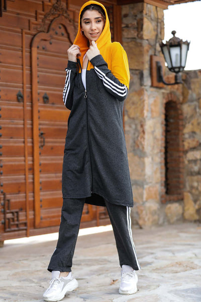 Women's Hooded Side Striped Sweat Suit