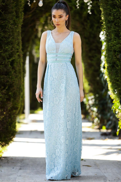 Striped Ice Blue Long Evening Dress