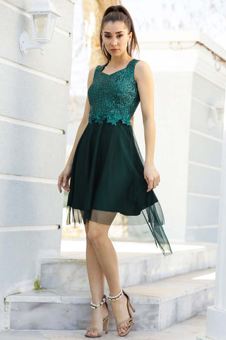 Tulle Green Evening Dress