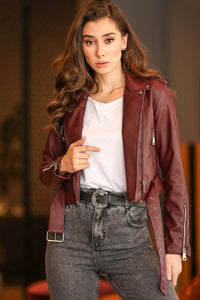 Claret Red Leather Jacket