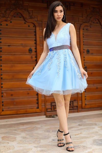 Lace Detail Baby Blue Short Evening Dress