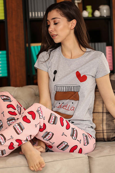 Patterned Grey Powder Rose Pajama Set