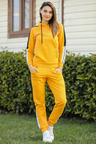 Hooded Yellow Sweat Suit - 7571
