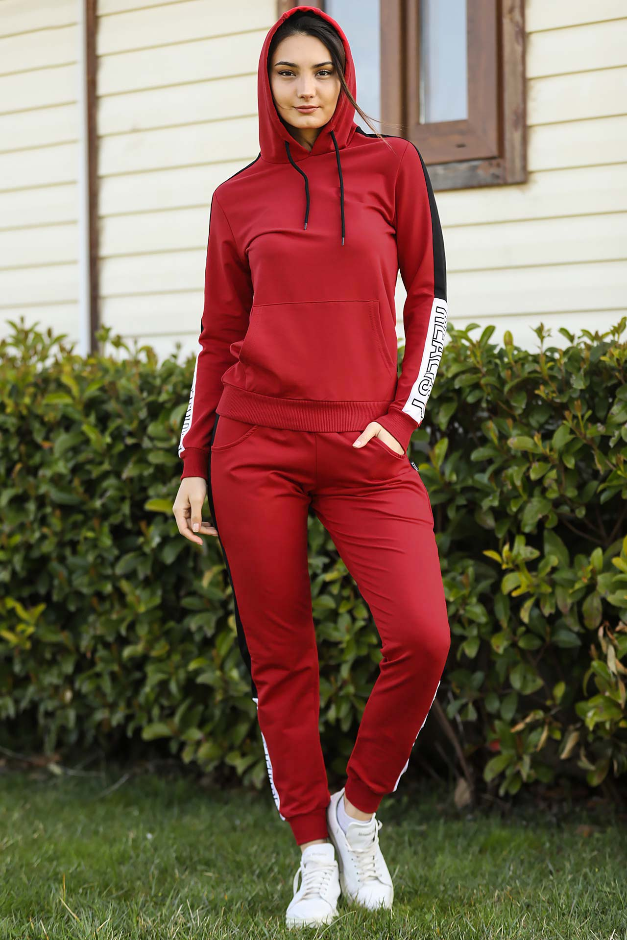 Women's Hooded Red Sweat Suit