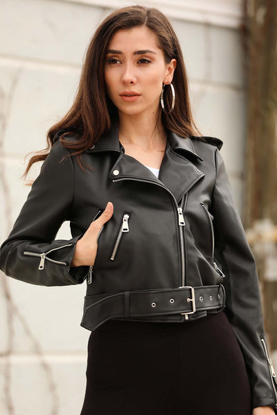 Belted Hem Black Artificial Leather Jacket