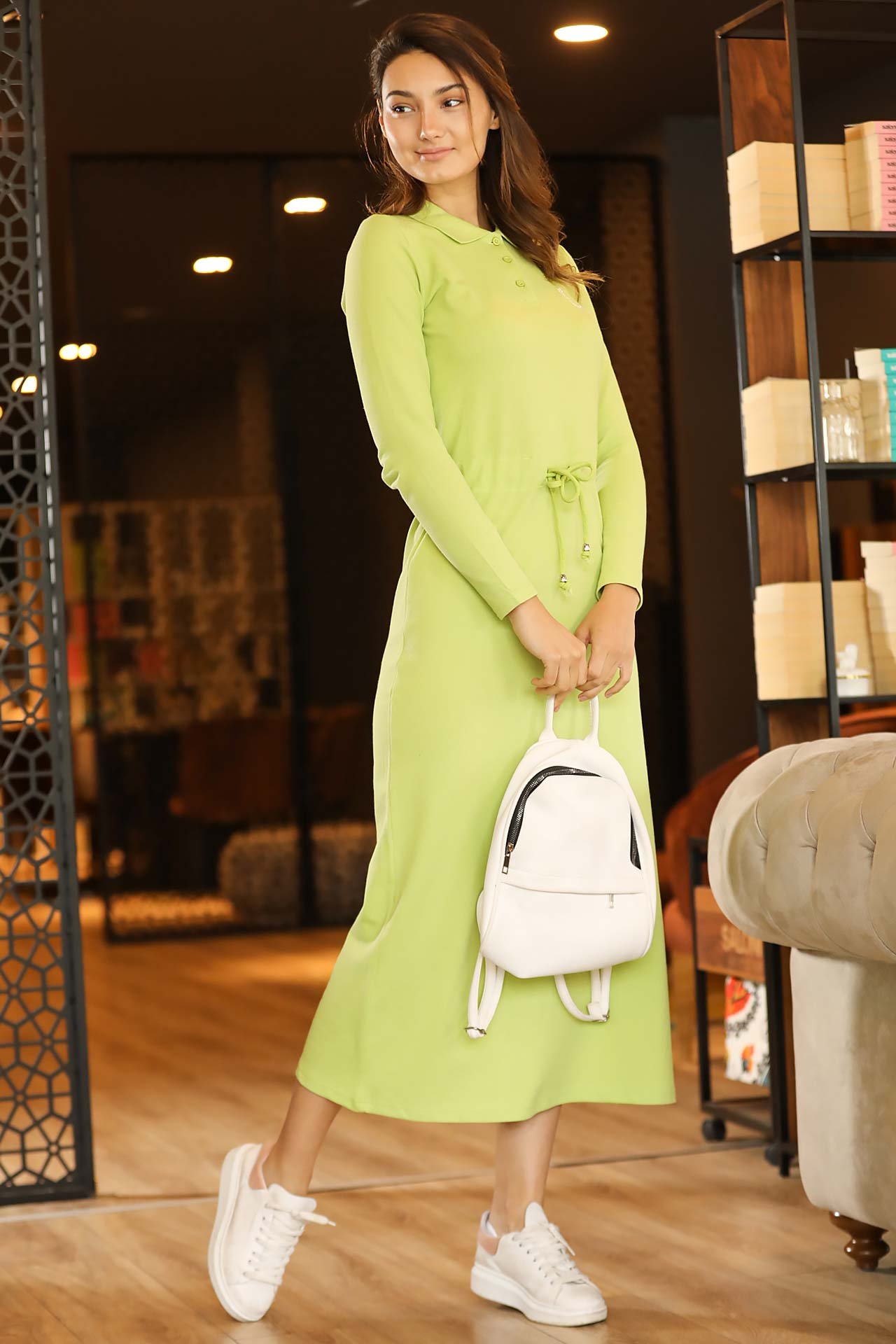 Polo Collar Green Long Dress