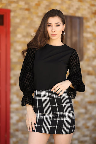 Plaid Black Short Skirt