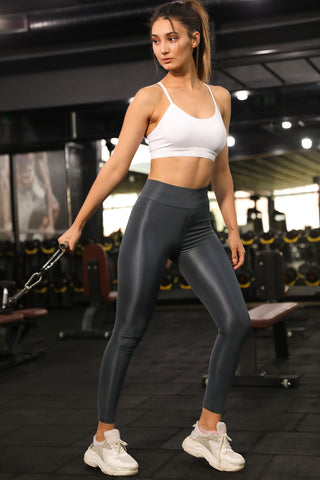 Shiny Dark Grey Leggings
