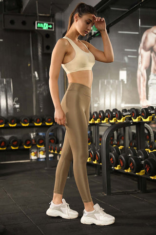Shiny Beige Leggings