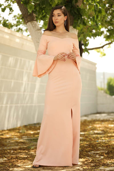 Ruffle Sleeves Powder Rose Evening Dress