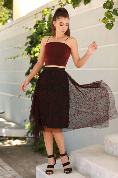Women's Asymmetric Cut Tulle Short Skirt