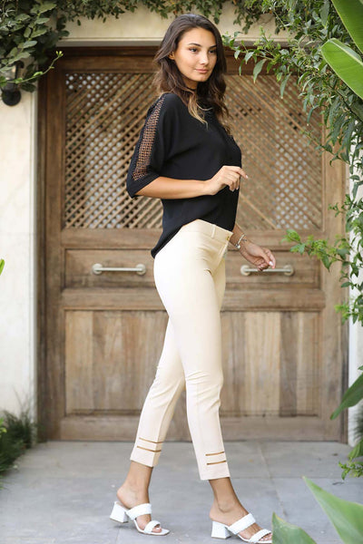 Tulle Detail Cream Pants