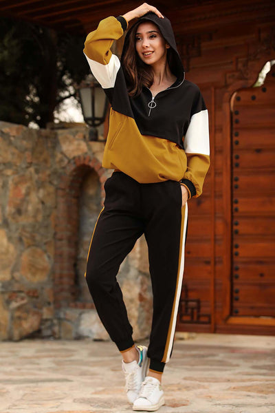 Women's Hooded Mustard Black Sweat Suit