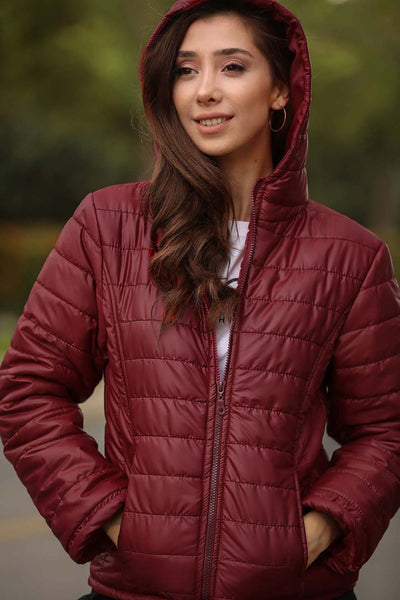 Women's Hooded Claret Red Blown Coat