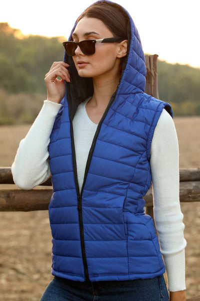 Women's Hooded Saxe Vest