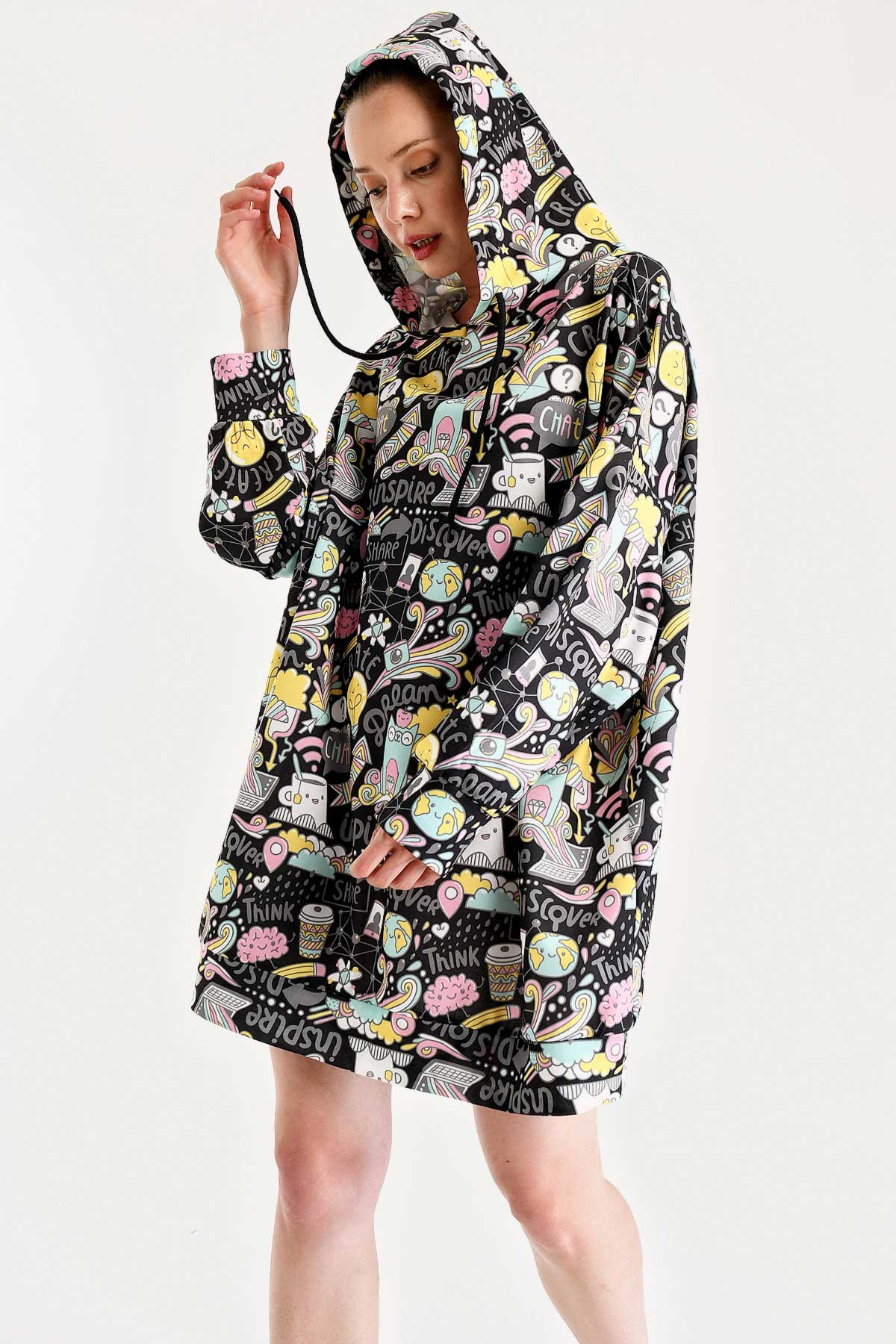 Hooded Graphic Pattern Sweat Dress