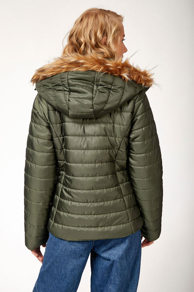 Women's Hooded Khaki Blown Coat