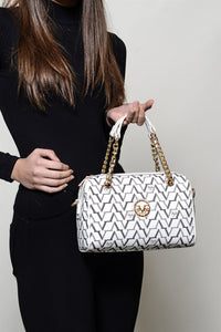 Patterned White Hand Bag