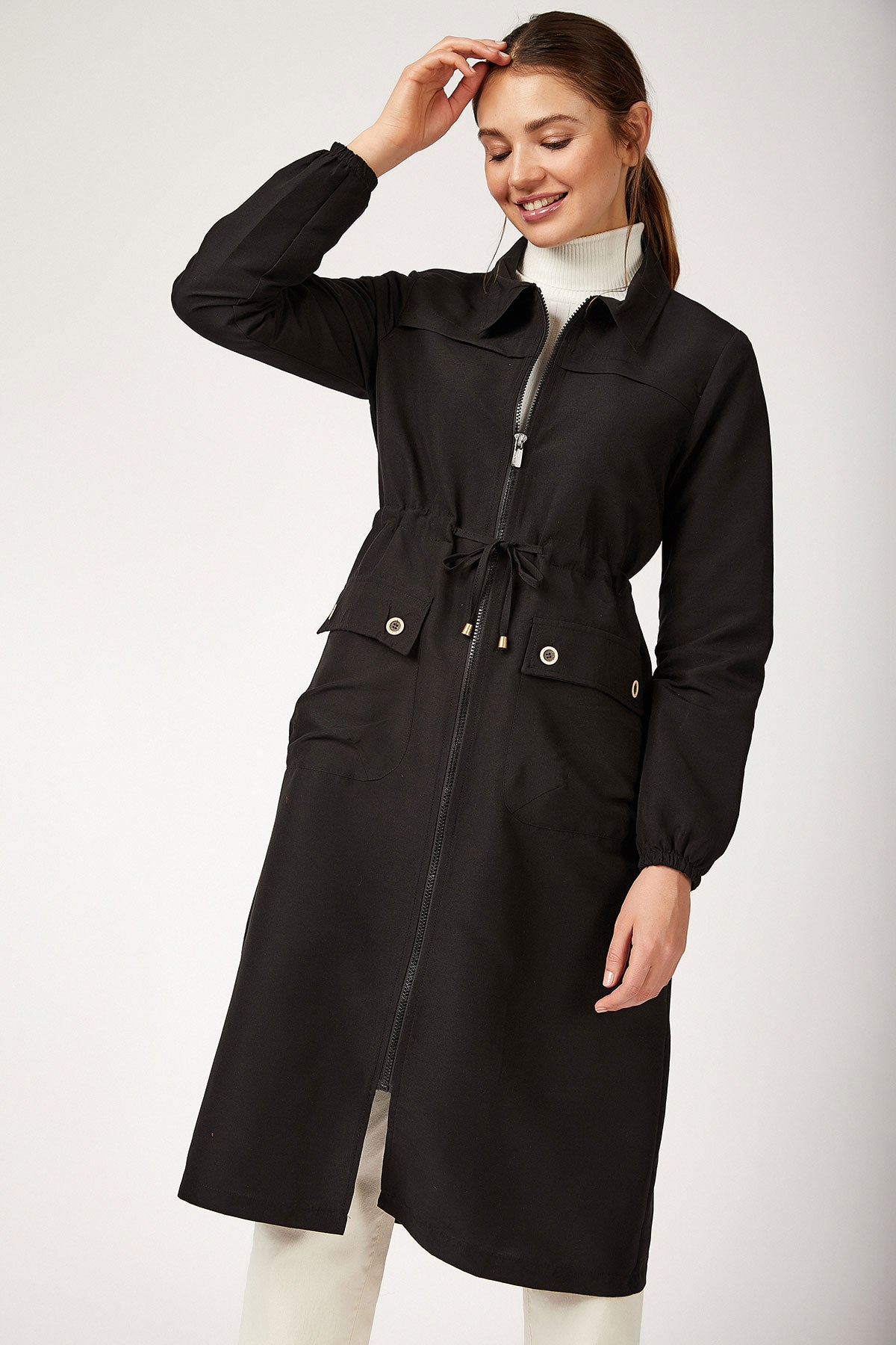 Zipped Modest Trenchcoat - 7548