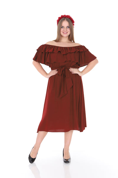 Frill Cinnamon Short Dress