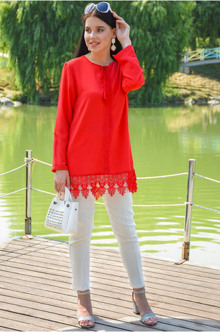 Lace Detail Red Tunic