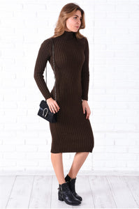 Turtleneck Brown Midi Tricot Dress
