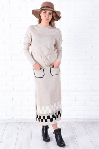 Pocket Beige Tricot Dress