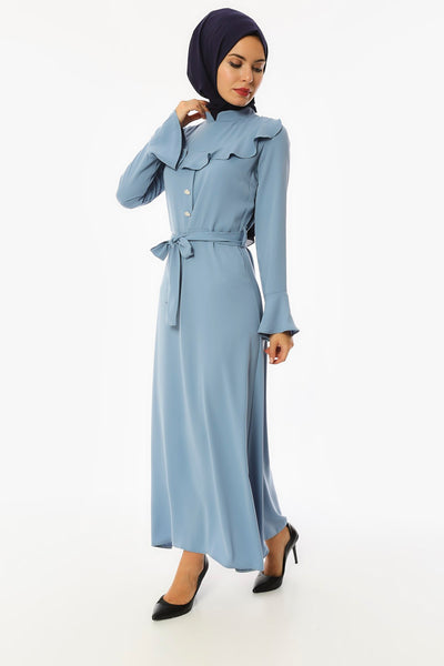 Belted Button Crepe Long Dress