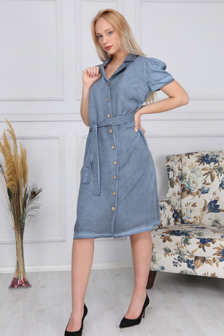 Belted Button Midi Dress