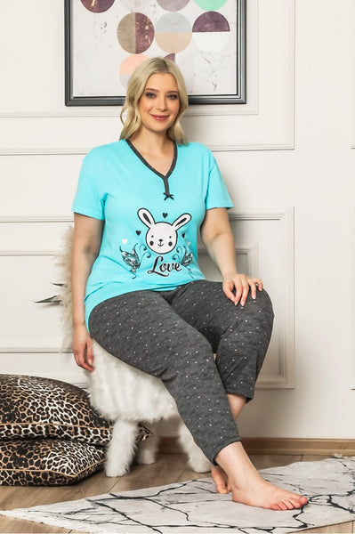 Patterned Blue Pajama Set