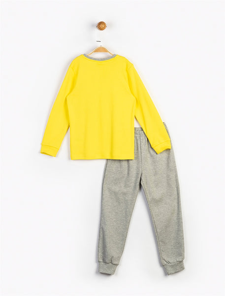 Kid's Batman Print Yellow Grey Outfit Set - 2 Pieces