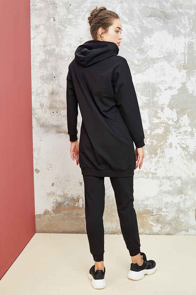 Women's Hooded Printed Black Sport Tunic & Pants Set
