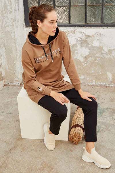Women's Hooded Embroidered Sand Beige Sport Tunic & Black Pants Set