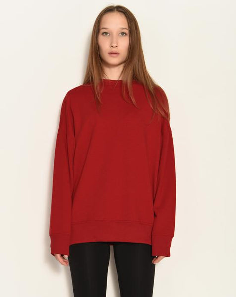 Crew Neck Dark Red Sweatshirt