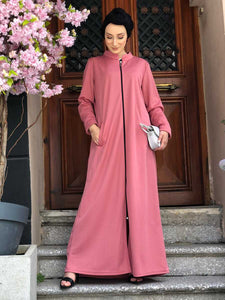 Zipper Dusty Rose Modest Abaya