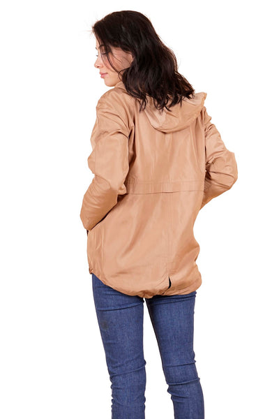 Women's Hooded Camel Lightweight Coat