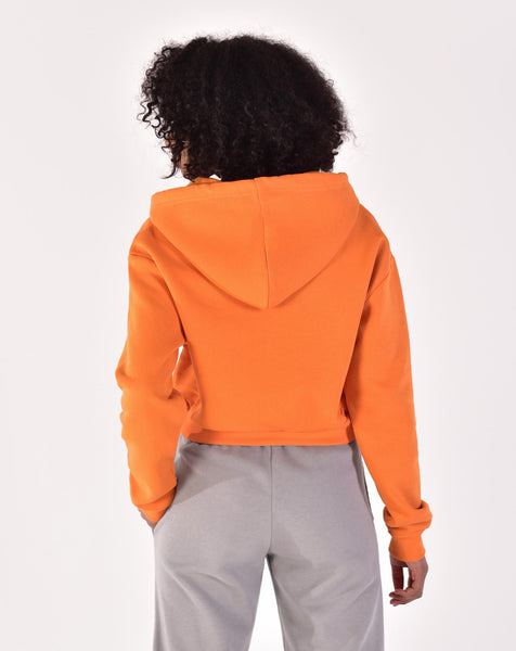 Women's Zipped Collar Orange Crop Sweatshirt