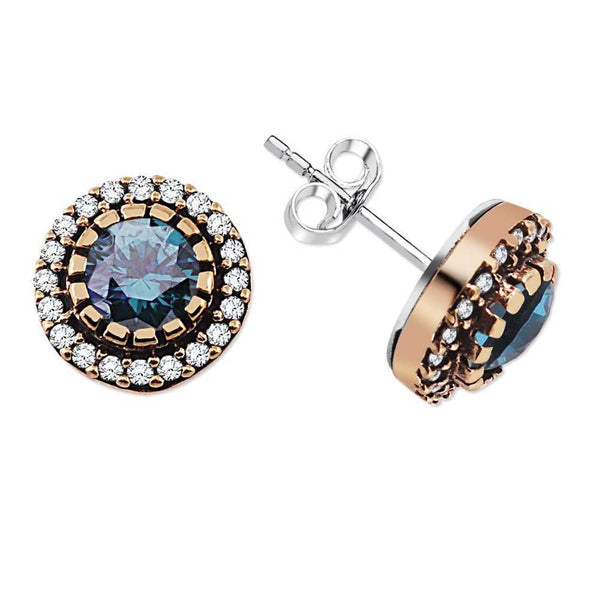 Blue Zircon Gemmed 925 Carat Silver Earrings