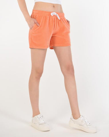 Pocket Orange Velvet Shorts
