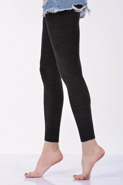 Plain Anthracite Angora Leggings by Millo