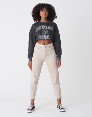 Pocket Mom Beige Jeans
